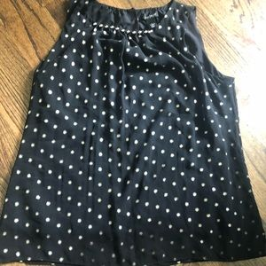 Large black and silver dot tank top